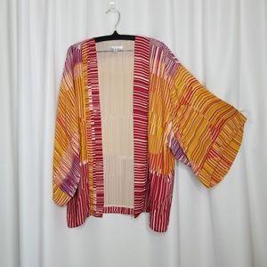 CAbi Mon Ami open kimono sunset stripe top M